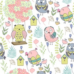 Seamless pattern with cartoon owls. Perfect for paper products, gift items and patterns, fabric design and others