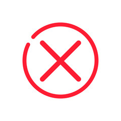 x icon, delete line icon. Red delete button. Red cross