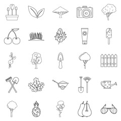 Blossom icons set, outline style