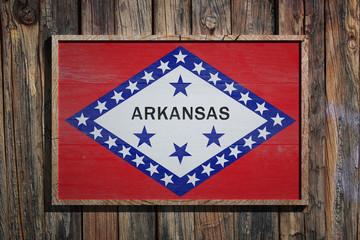 Wooden Arkansas flag