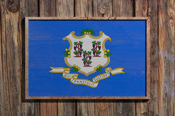Wooden Connecticut flag