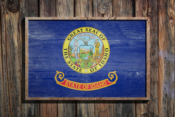 Wooden Idaho flag