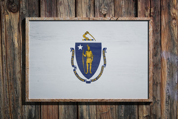 Wooden Massachusetts flag