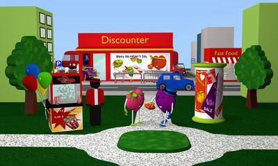 Stadtpark zu Valentin mit Popcornmaschine, Valentinsherzen, Litfaßsäule, Häuser und ein Discounter im Hintergrund. 3d render