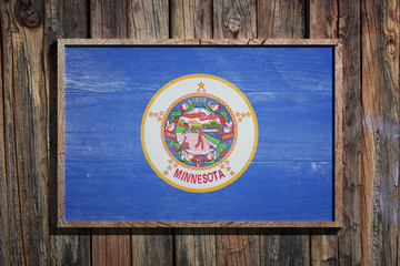 Wooden Minnesota flag