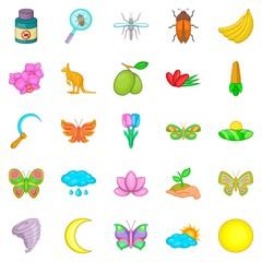 Heyday icons set, cartoon style