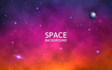 Space background. Colorful galaxy with nebula, planet and stars. Abstract futuristic backdrop. Stardust and shining stars. Vector Illustration for brochures and posters
