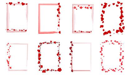 Set mit verschiedene rote Rahmen mit Herzen Liebe Hintergrund