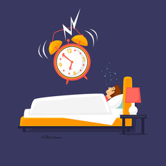 Alarm clock wakes the sleeping man. Flat design vector illustration.
