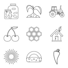 Members of household icons set, outline style