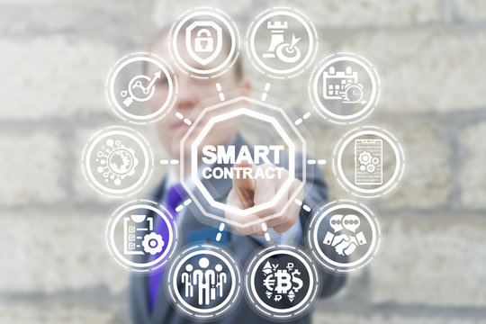 Businessman presses virtual button smart contract text on a touchscreen. Smart Contract Business Information Technology. Digital Agreement.