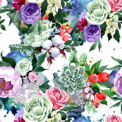 Bouquet flower pattern in a watercolor style. Full name of the plant: rose, hulthemia, rosa. Aquarelle wild flower for background, texture, wrapper pattern, frame or border.