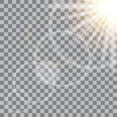 Glow sun light effect on transparent background. Vector