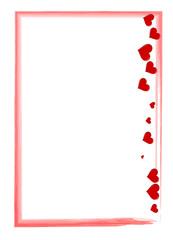 roter Rahmen mit Herzen und Pinselstrich Liebesbrief
