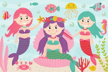 mermaids comb and decorate their hair underwater - vector illustration, eps