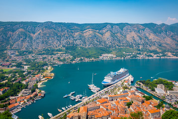 Port of Kotor, Montenegro. Aerial view with cruise ship in the background.