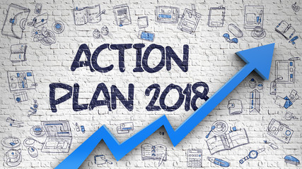 Action Plan 2018 Drawn on Brick Wall.