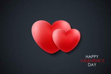 Happy Valentine's Day celebrate banner with red realistic hearts on black background. 14 february holiday greetings. Vector Illustration.