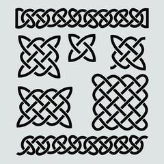 Set of celtic patterns and celtic elements. Vector illustration, black, infinite.