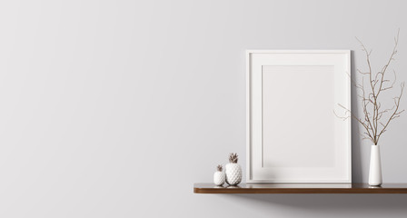 Shelf with poster 3d rendering