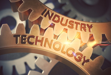 Industry Technology on the Golden Gears. 3D Illustration.