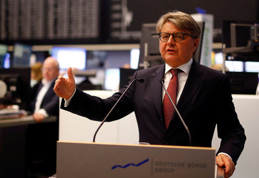 Theodor Weimer, CEO of German stock exchange Deutsche Boerse AG, informs the media about the planned renovations at the trading floor of Frankfurt's stock exchange