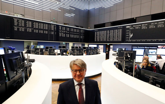 Theodor Weimer, new CEO of German stock exchange Deutsche Boerse AG, waits for his speech to inform the media about the planned renovations at the trading floor of Frankfurt's stock exchange in Frankfurt