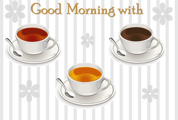 Vector image of a cup of coffee and tea on a striped background