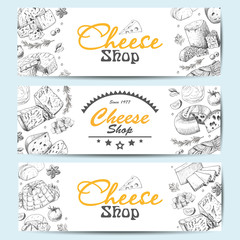 Horizontal banners with a variety of cheeses