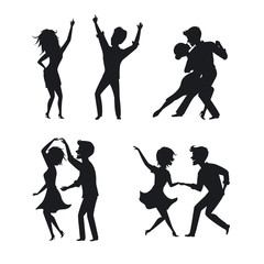 couple man and woman dance tango twist romantic disco club dancing silhouette set