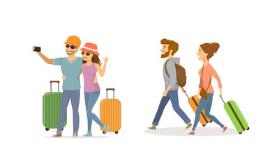 cheerful young couple , man and woman traveling with suitcases