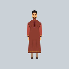 Muslim man in tradition costume, representative of religious confession vector Illustration