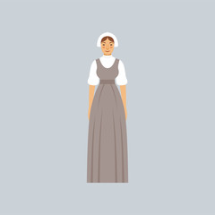 Mormon woman in traditional dress vector Illustration