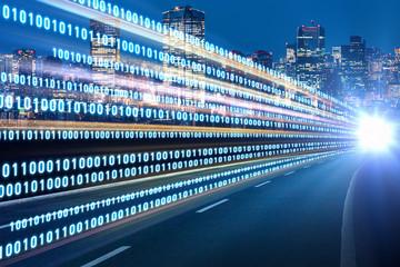Digital signals flying over highway. Digital transformation. Internet of Things. Wall mural