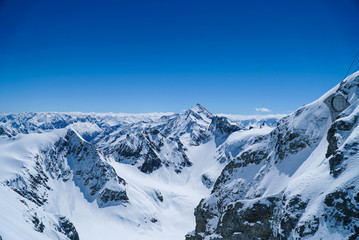 landscape big mountains snow covered blue sky background