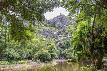 View on the stairs leading to the top pagoda of Hang Mua temple, Ninh Binh, Vietnam