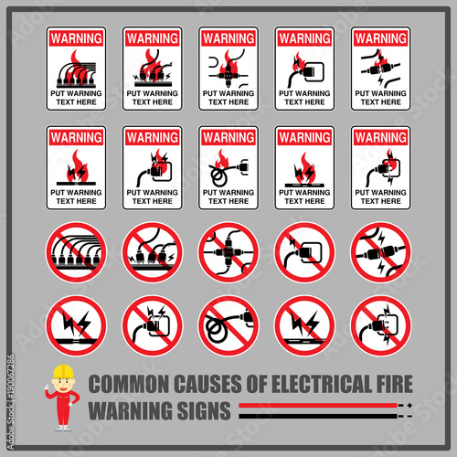 Set Of Safety Warning Signs And Symbols For Causes Of Common