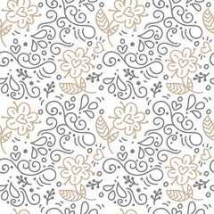 Seamless pattern with hand painted leaves in Scandinavian style on a white background. Vector illustration Valentines Day, wedding, birthday greeting card