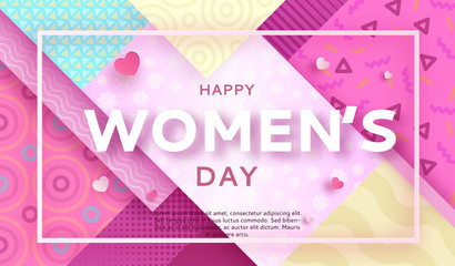 Trendy geometric women s day banner, 8 march poster in modern 90s - 80s memphis style with paper art or origami elements, patterns, silhouettes, colorful vector illustration, fashion background