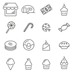 Candy Shop & Candy or Sweets Icons Thin Line Vector Illustration Set