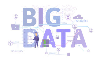 Big data business concept, infographics vector illustration, isolated on white background.