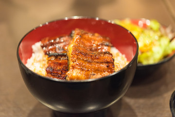 Unaju, white rice topped with grilled eel
