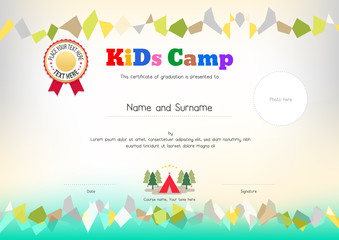 Kids Summer Camp Diploma or certificate template award ribbon and photo affix space