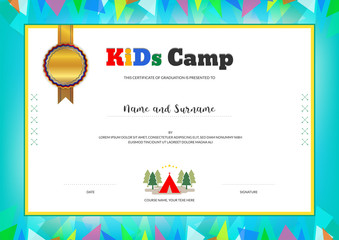 Kids Summer Camp Diploma or certificate template with colorful background