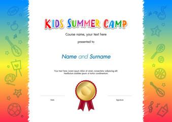 Kids Summer Camp Diploma or certificate template award seal with fun activities border