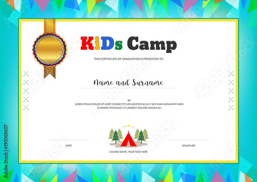 Kids summer camp diploma or certificate template with colorful kids summer camp diploma or certificate template with colorful background yelopaper Image collections