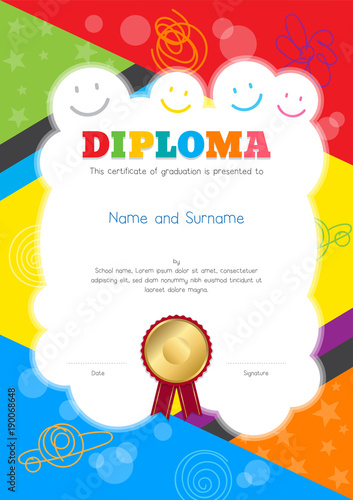quotkids diploma or certificate template with colorful and