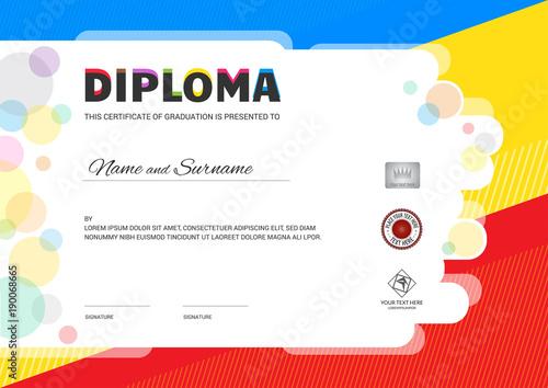 Kids summer camp diploma or certificate template with seal space kids summer camp diploma or certificate template with seal space on colorful background yadclub Gallery