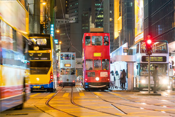 Traditional tramways cars in downtown Central, Hong Kong Wall mural
