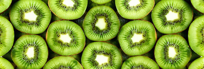Zelfklevend Fotobehang Vruchten Fresh organic kiwi fruit sliced. Food frame with copy space for your text. Banner. Green kiwi circles background